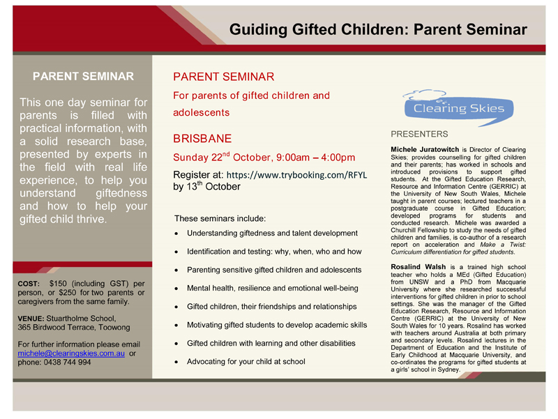 Clearing Skies Brisbane - Professional Services for nurturing gifted children and their families